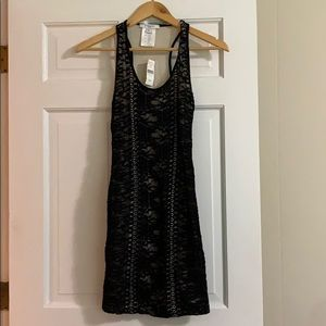 Givenchy Paris black lace fitted tank dress